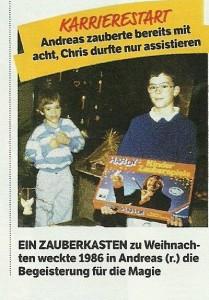 Die Ehrlich Brothers - Chris und Andreas im Kindesalter lernen mit dem Zauberkasten von Hardy die ersten Zaubertricks!